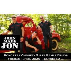 Billet til John Made Jon Koncert, 1 feb. 2020 kl. 21, 1 stk.