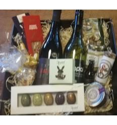Surprise-Goodie-Box med Vin, Chokolade, delikatesser 500 kr.