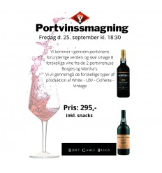 Portvinssmagning - 8 portvine - 25. sep. kl. 18.30 - Billet for 1 person