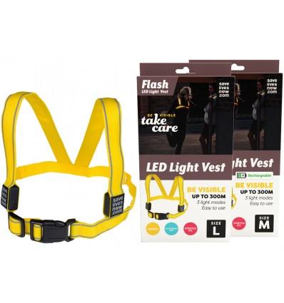 Flash LED light vest - flere størrelser