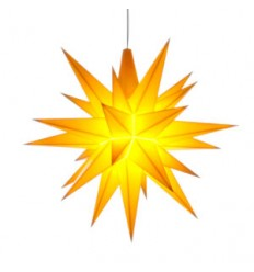 13 cm Gul - Plast med LED - Herrnuterstjerne
