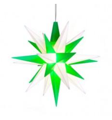 13 cm Grøn/Hvid - Plast med LED - Herrnuterstjerne