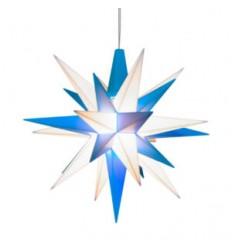 13 cm Blå/Hvid - Plast med LED - Herrnuterstjerne