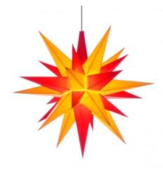 13 cm Rød/Gul - Plast med LED - Herrnuterstjerne