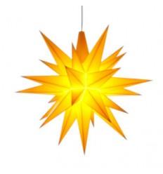 13 cm Gul - Plast usamlet med LED - Herrnuterstjerne