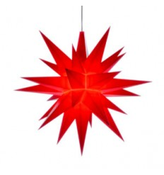 13 cm Rød - Plast usamlet med LED - Herrnuterstjerne