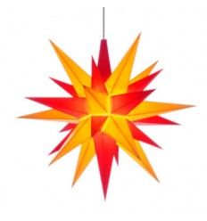 13 cm Rød og Gul - Plast usamlet med LED - Herrnuterstjerne