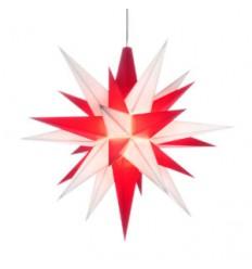 13 cm Rød og Hvid - Plast usamlet med LED - Herrnuterstjerne