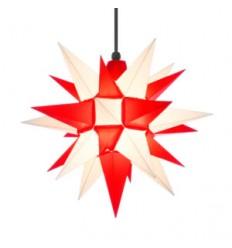 40 cm Rød og hvid - Plast - Usamlet - Herrnuterstjerne