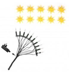 13 cm gul stjernekæde med glødepærer - Plast - Hernnhuterstjerner