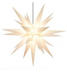 MINI: 8 cm Hvid - Plast med LED - Herrnhuterstjerne